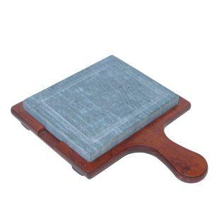 Pietra ollare 16×20 con vassoio in legno