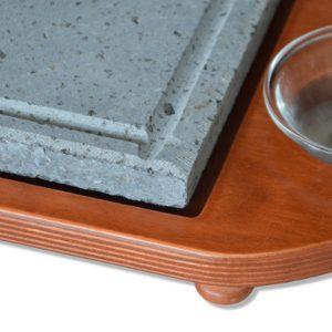 Pietra <strong>lavica</strong> 25×25 cm con vassoio in legno porta ciotole