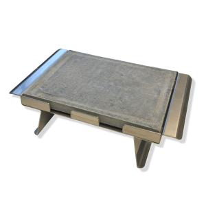 <strong>Pietra ollare opaca </strong> 25x20x2 con telaio in acciaio inox