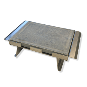 Pietra ollare opaca 25x20x2 con telaio in acciaio inox