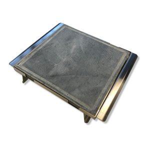 Pietra ollare opaca 35x35x2 con telaio in acciao inox