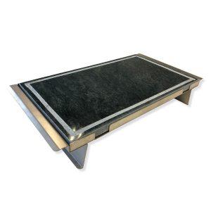 Pietra ollare lucida  50x30x2 con telaio in acciaio inox