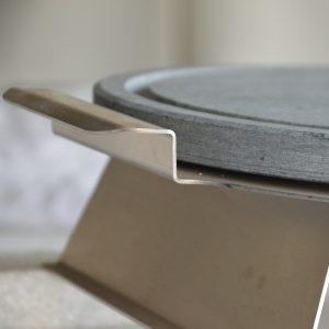 Pietra ollare tonda opaca 30 cm con telaio in acciao inox